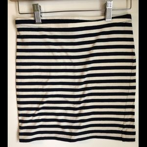 H&M Navy and White Striped Skirt